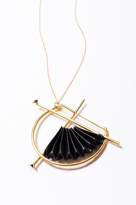Gold Statement Necklace Origami Necklace Origami Jewelry Black