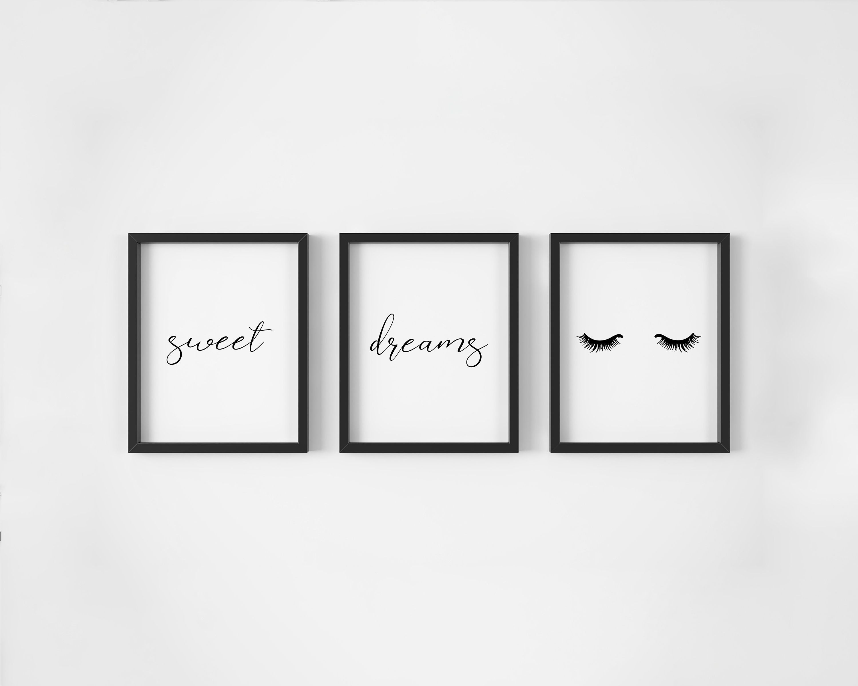 Sweet Dreams Print Set Of 3 Bedroom Wall Art Set Eyelashes Etsy Modern Nursery Artwork Cute Wall Decor Modern Wall Decor