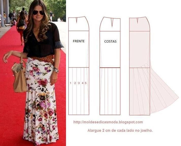 Molde de falda estilo sirena | Vestidos bellos | Pinterest | Costura ...