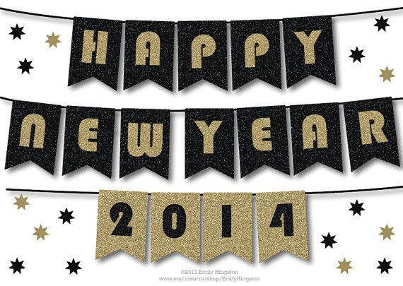 happy new year banner printable decoration black and gold sparkly glitter bunting new years eve party decoration 2014 diy on etsy 450