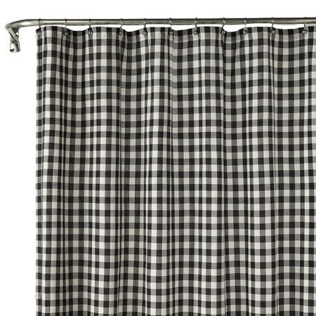 Black And White Shower Curtain With A Check Motif Product Shower
