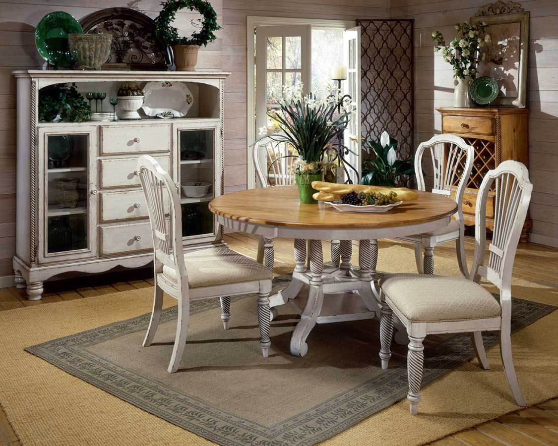 Wilshire Antique White Round Dining Room Group  125 Years Anni Stunning Oval Dining Room Table Set Decorating Design