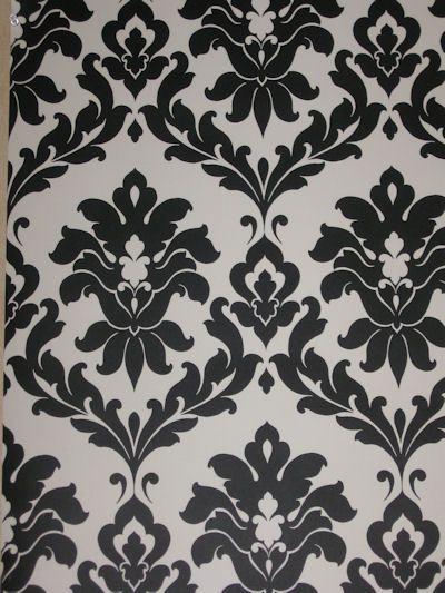Black White Damask Wallpaper Vg26230p Damask Wallpaper Black And White Wallpaper Pattern Wallpaper