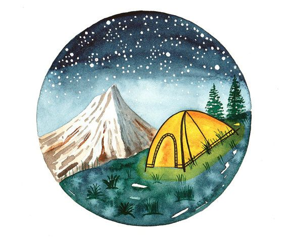 Original Watercolor Painting Camping Tent On Mountains Small Wall