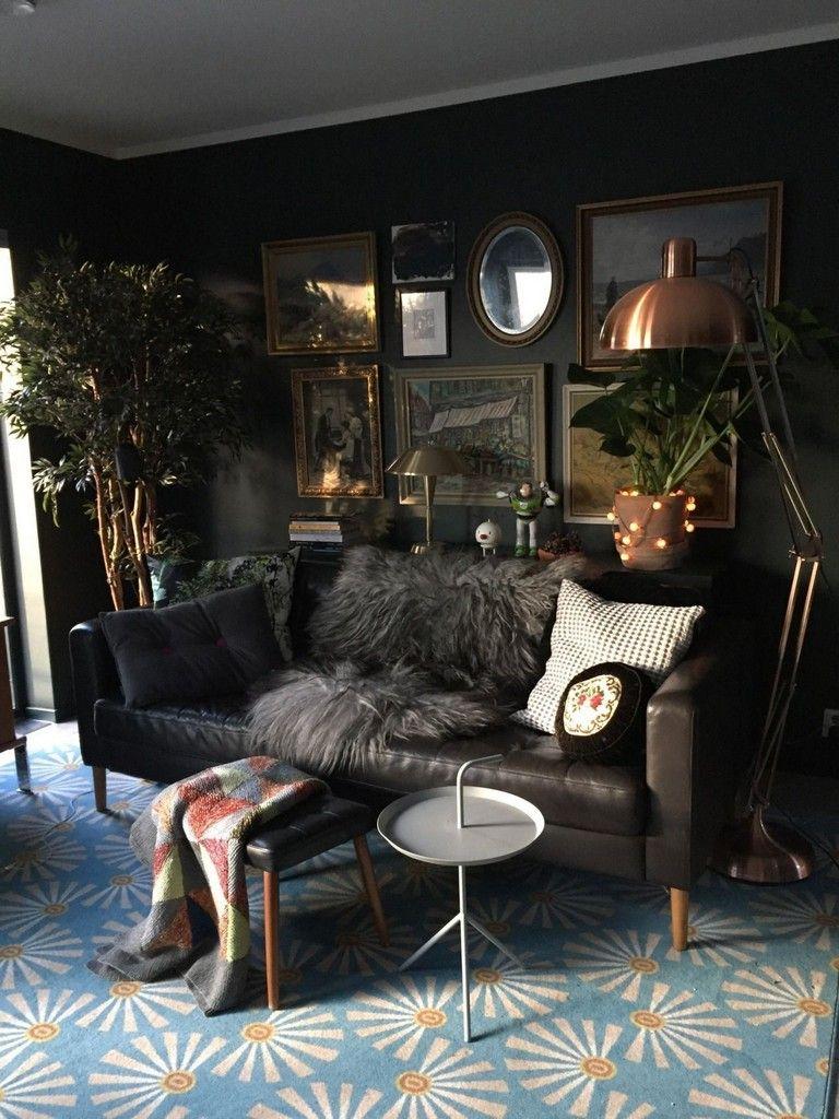 45 Stunning Family Living Room Design Ideas Black Walls Li