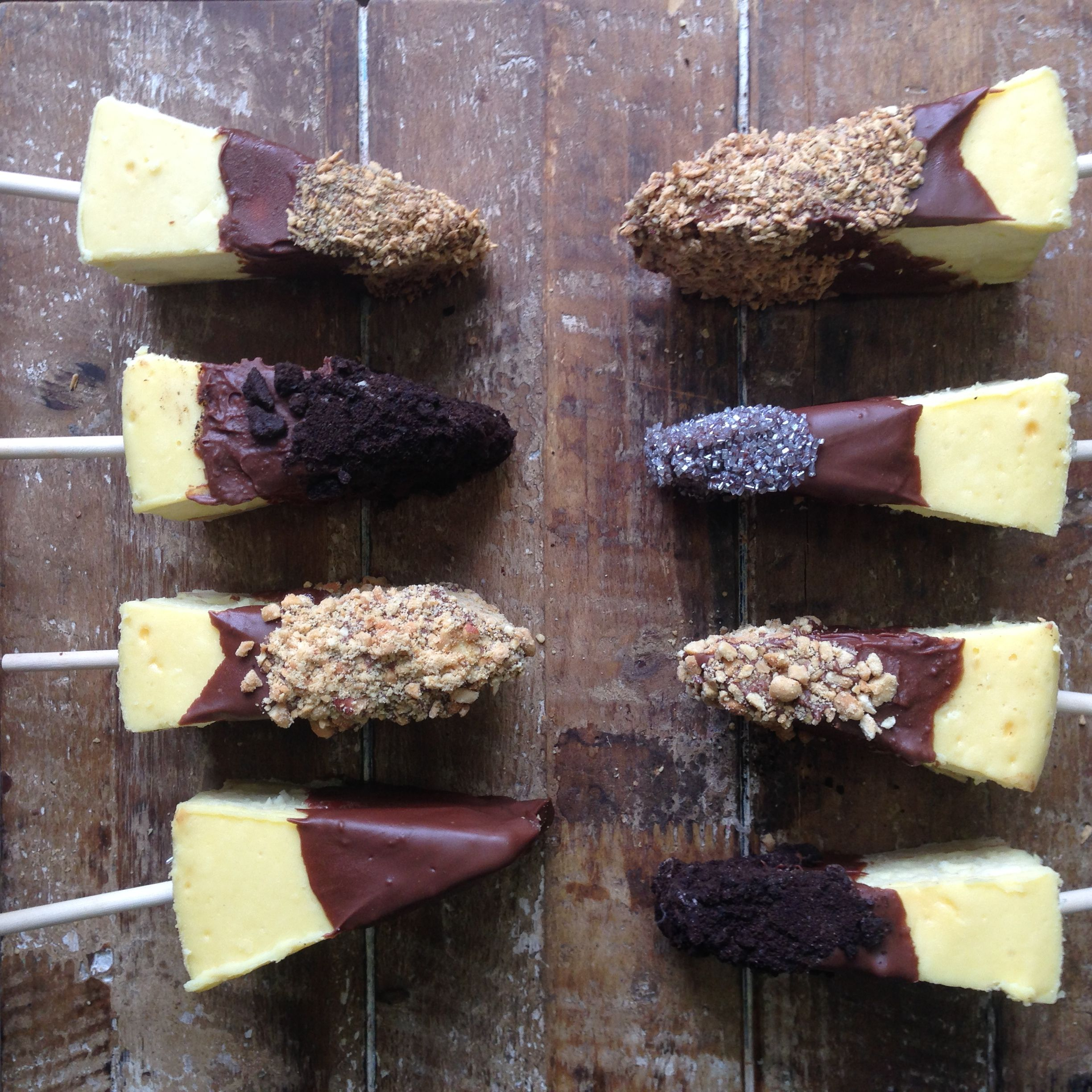 Chocolate dipped cheesecake on a stick portable