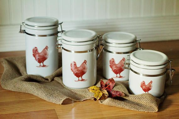 Rustic Rooster Kitchen Canisters Ceramic Canisters