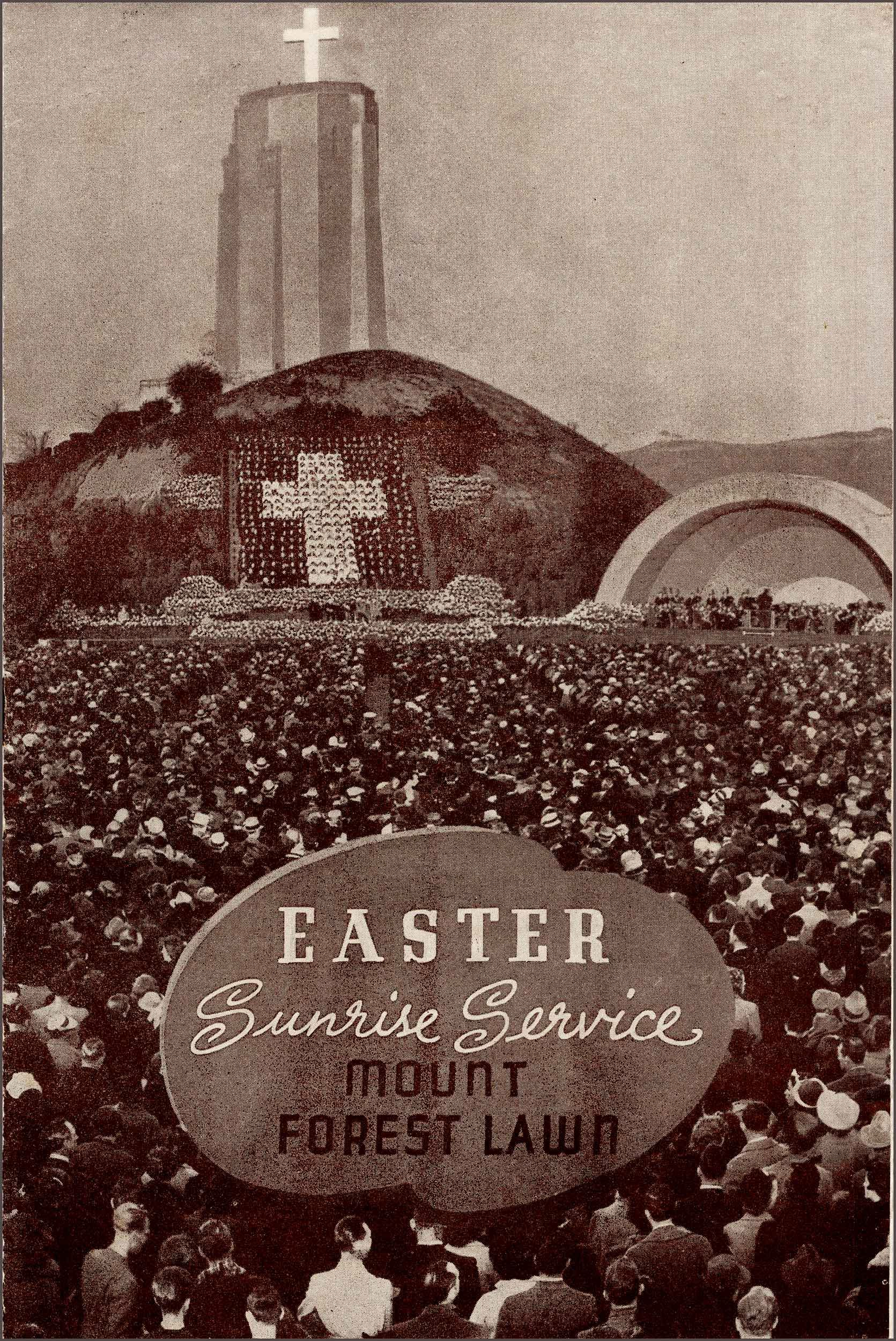 Service Vintage Program Cover For Sunrise In California Looks Like The Hollywood Bowl Background