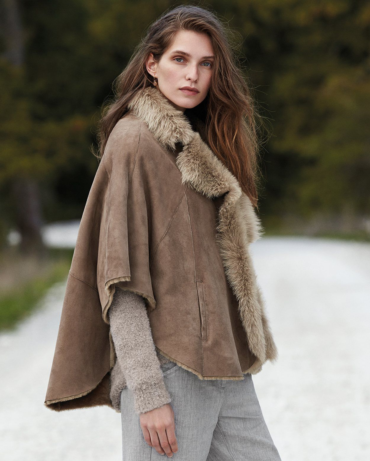 Poetry - Toscana shearling & suede lambskin cape | baza haine ...