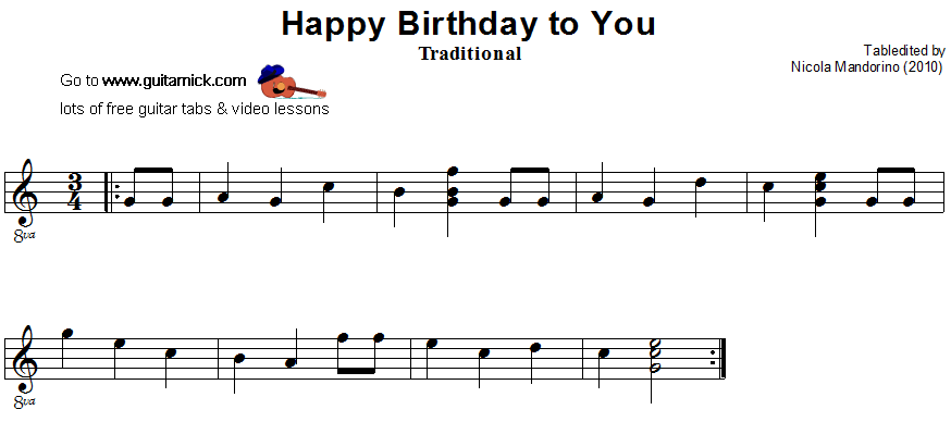 Happy Birthday To You - guitar sheet | Guitar | Pinterest | Guitar ...