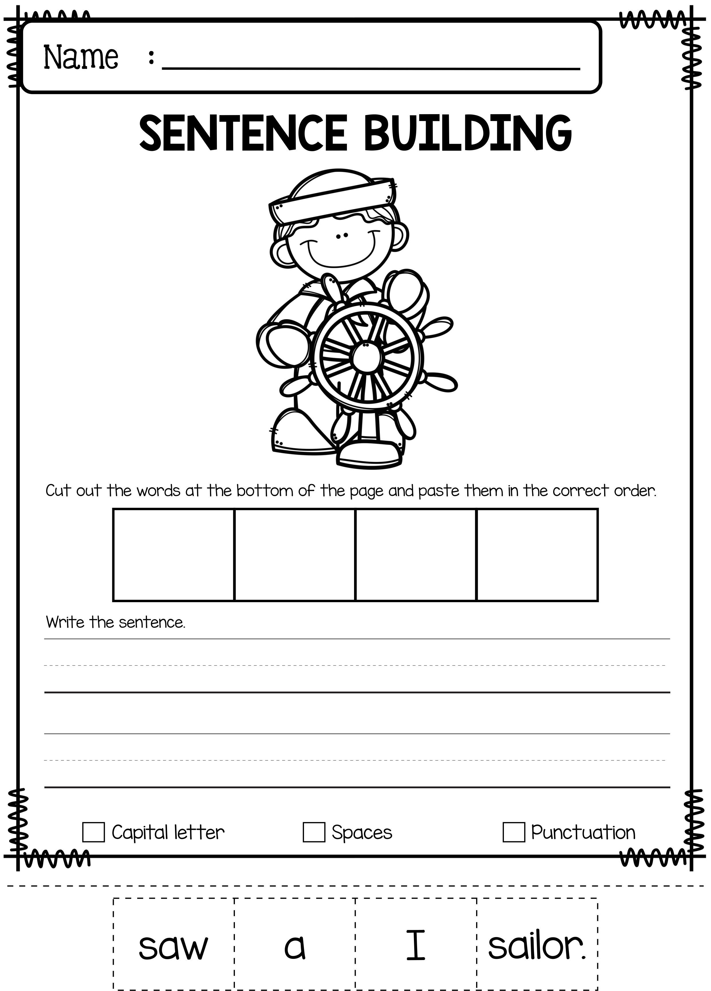 June Sentence Building   tutoring   Sentence building, Kindergarten ...