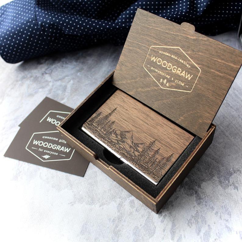 Nature Wooden Business Card Holder Case Personalized Etsy Wooden Business Card Wooden Business Card Holder Business Card Holders