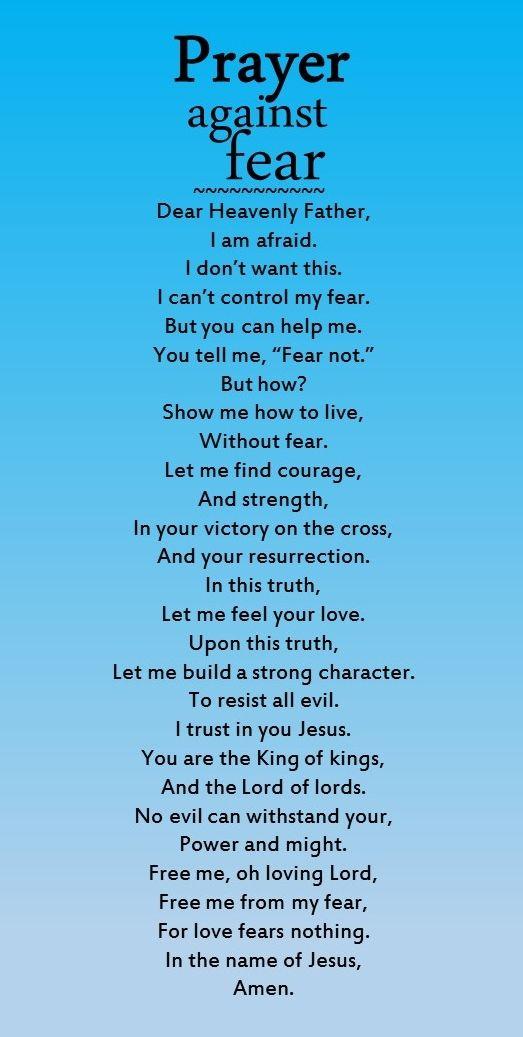Prayer against fear | Spiritual Warfare | Prayer scriptures, Prayers