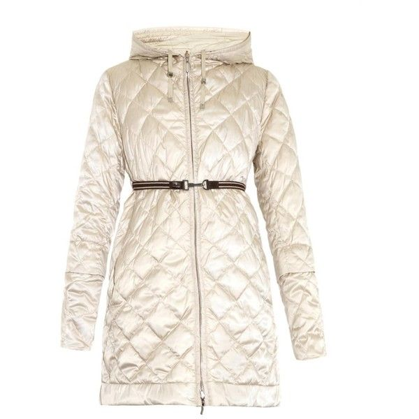 S Max Mara Enovel reversible coat ($1,295) ❤ liked on Polyvore featuring outerwear, coats, cream, cream coat, reversible coat, stretchy belts, down filled coats and pink coat
