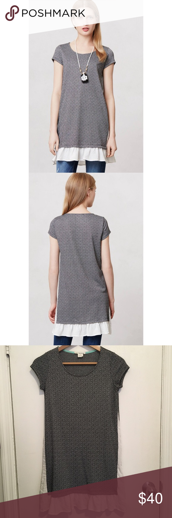 """Anthropologie Fluttered Heather Tunic Excellent condition. Worn once. 16.5"""" across chest, 32.5"""" long. Can be worn as a Tunic or a dress depending on your height. Anthropologie Tops Tunics"""