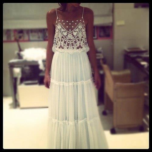 beaded mesh wedding gown