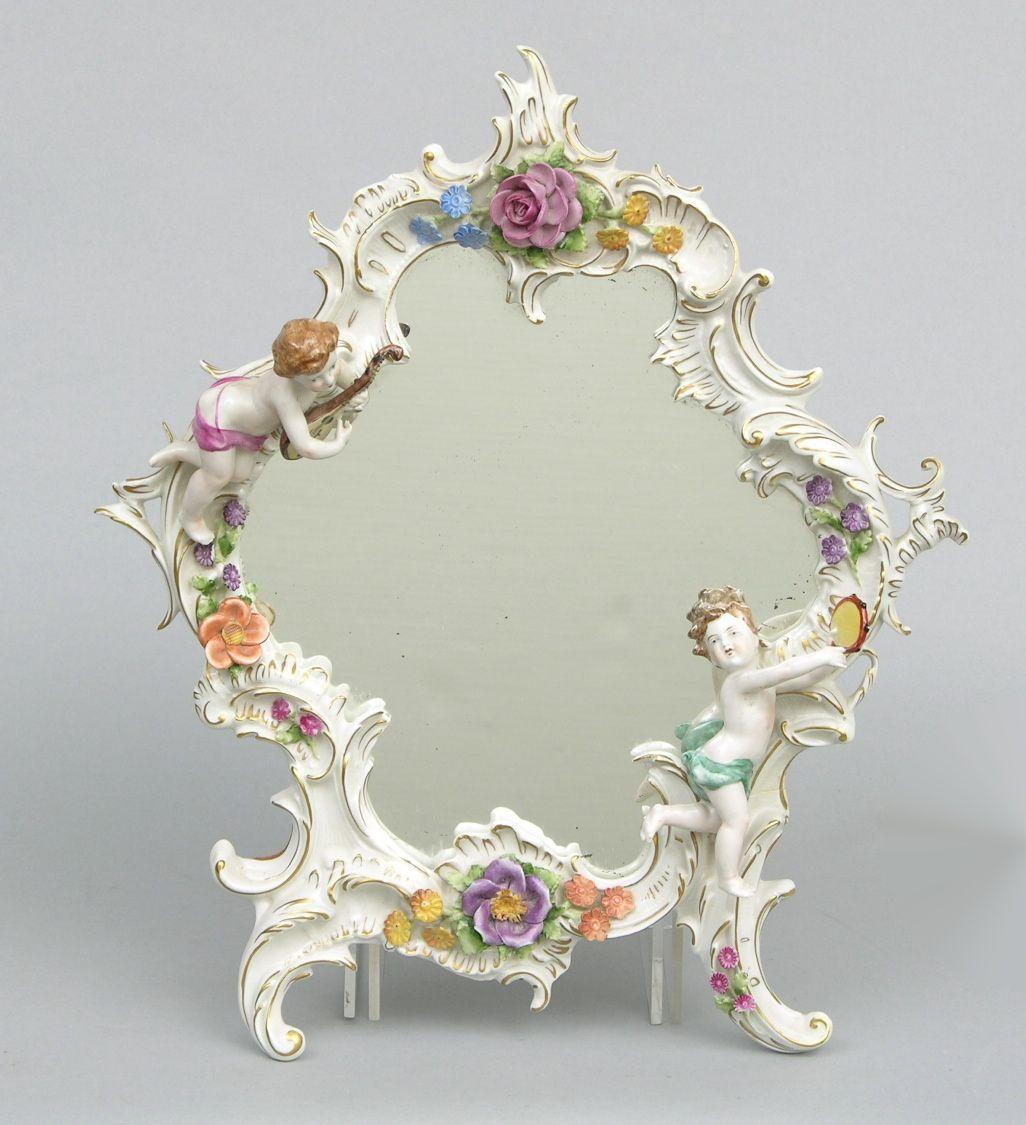 A Capodimonte Porcelain Wall Mirror Frame Vintage