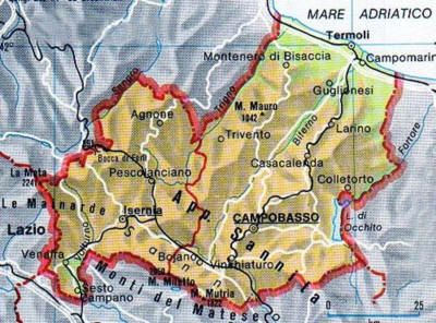 Il Molise Cartina.Map Of Molise Tuscanyagriturismogiratola Molise Map Campobasso