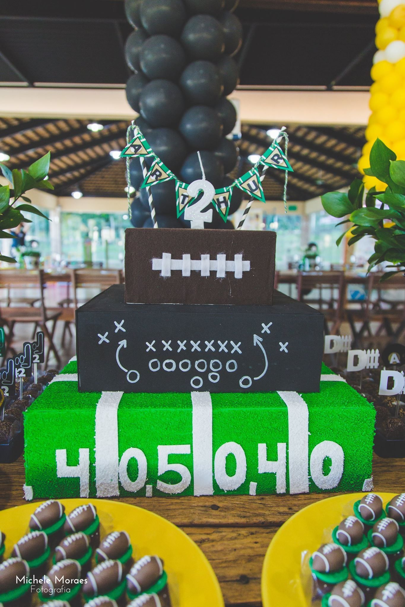 Football Party Decoration Fake cake! Photo by Michele