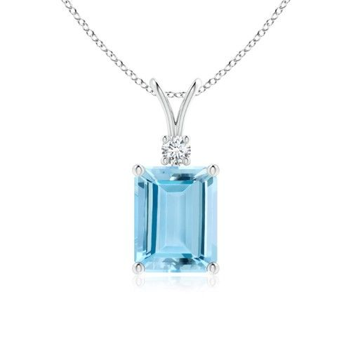 3247c7ee743a4 Prong Set Emerald Cut Aquamarine and Round Diamond V-Bale Solitaire ...