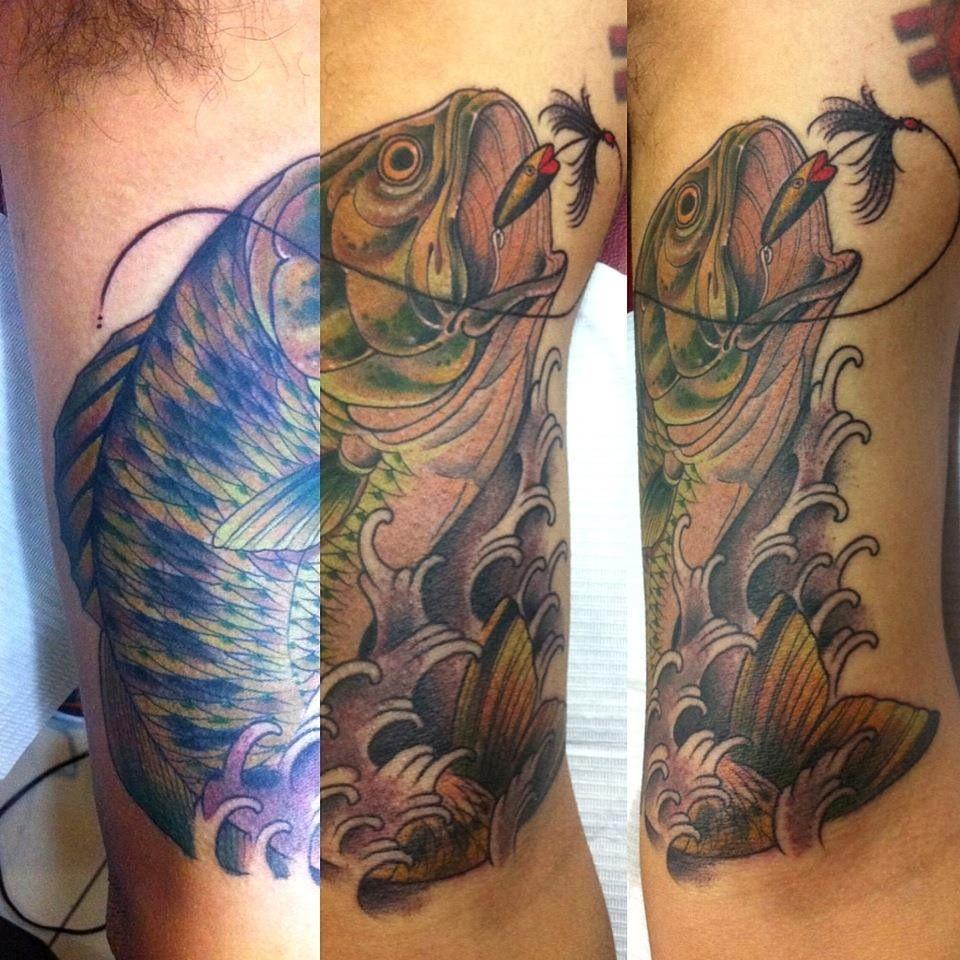 My largemouth bass tattoo fishing tattoos pinterest for Bass fish tattoo