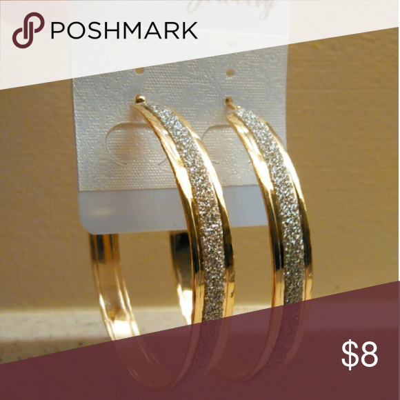 """Gold + Silver Glitter Hoop Earrings Clasp Alloy Brand new hoops, 2""""-3"""". Golden color with silver glitter accents. Durable light weight alloy.  Items ship within 3 business days of payment. Follow us for new listings daily. Thank you for looking! Deja New Jewelry Earrings"""