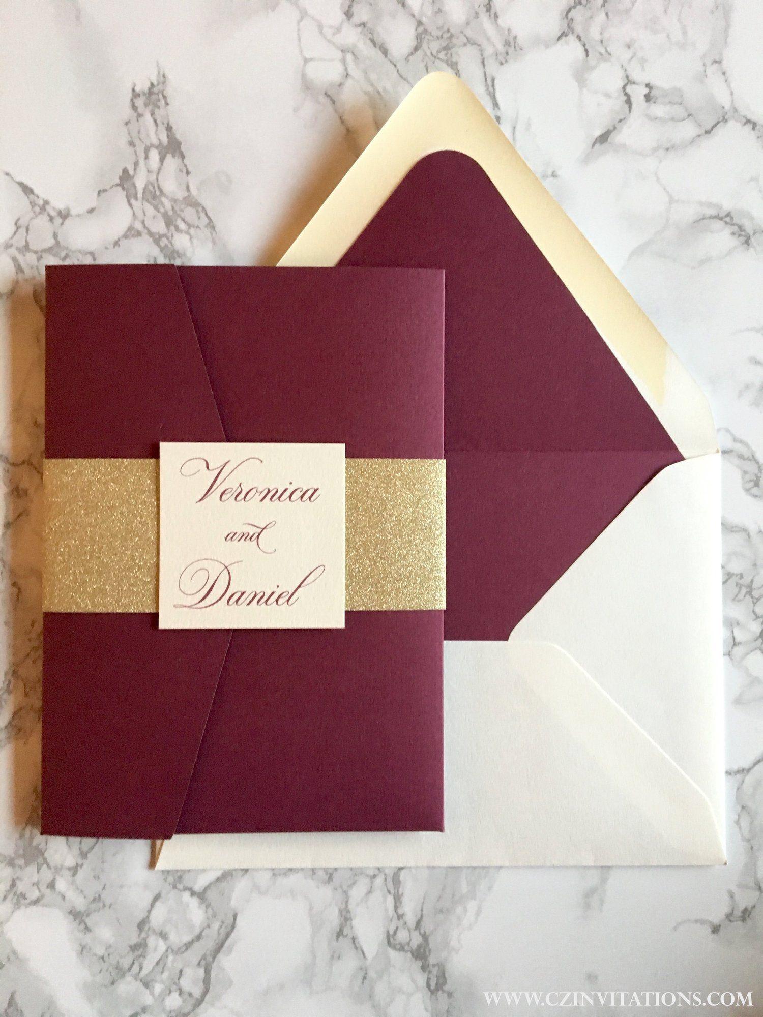 Burgundy And Gold Laser Cut Pocket Wedding Invitation In 2019