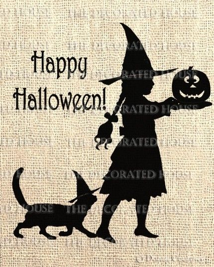 Halloween Iron On Transfer. Digital Download. Little Witch with Jack O Lantern, can choose cat or dog friend! The Decorated House, Etsy