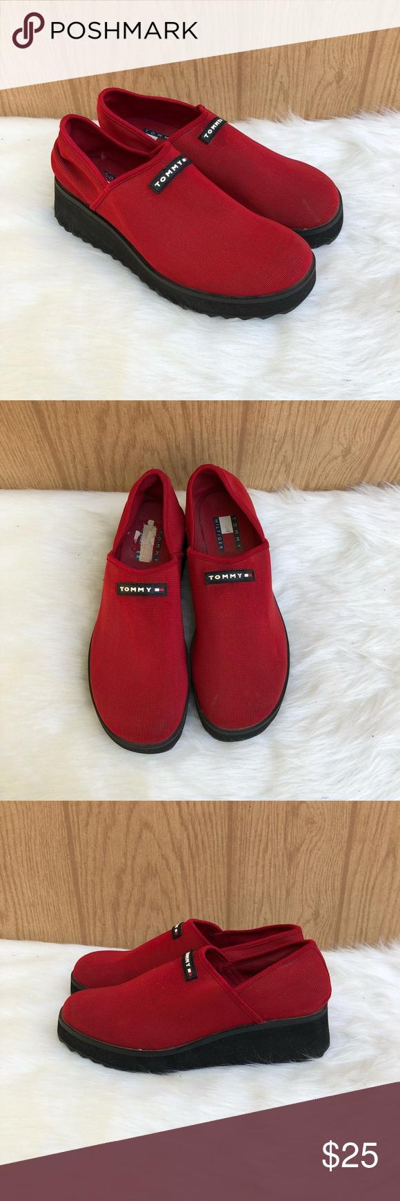 "bfb7bef50b1f23 90 s Tommy Hilfiger platform shoe Red stretch canvas on a black rubber platform  90 s Vintage tommy spell out logo Size 8 1.5"" heel at highest point Tommy  ..."