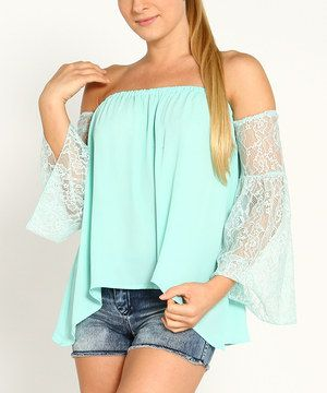 Another great find on #zulily! Mint Lace Bell-Sleeve Off-Shoulder Top by Marineblu #zulilyfinds