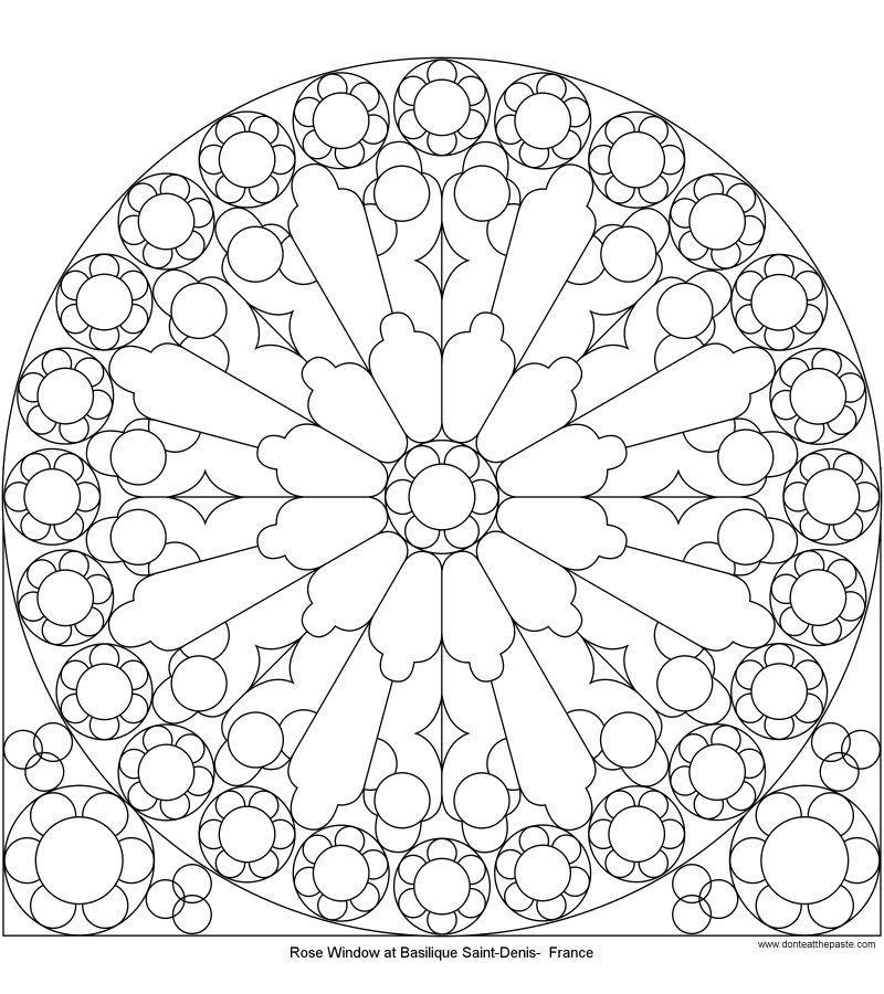Dont Eat The Paste Rose Window At St Denis To Color Drawing I
