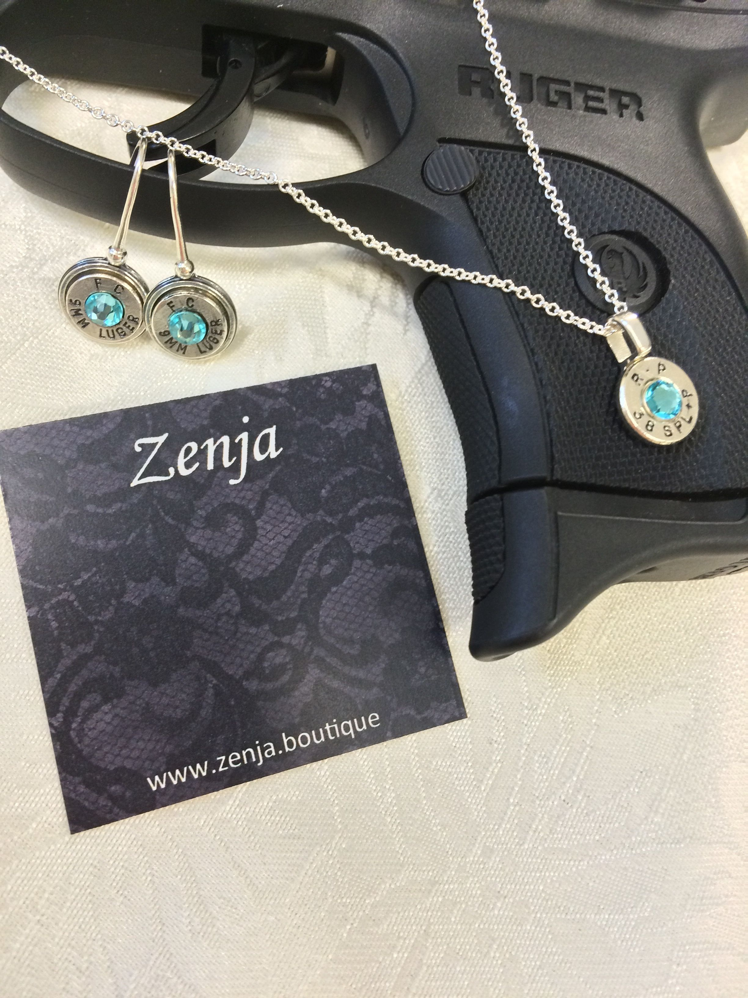 Zenja Bullet Jewelry ~ Silver necklace and earring set from Courtney's Colours Collection.