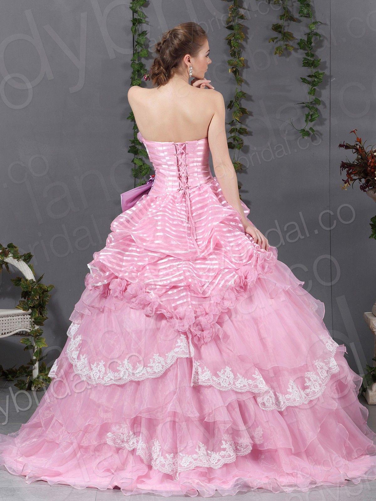 Pink chapel train organza strapless ball gown wedding dress b