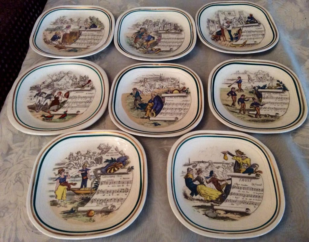 Set of eight PV Limoges antique dessert plates French opera . PV made in England Collectible & Set of eight PV Limoges antique dessert plates French opera . PV ...