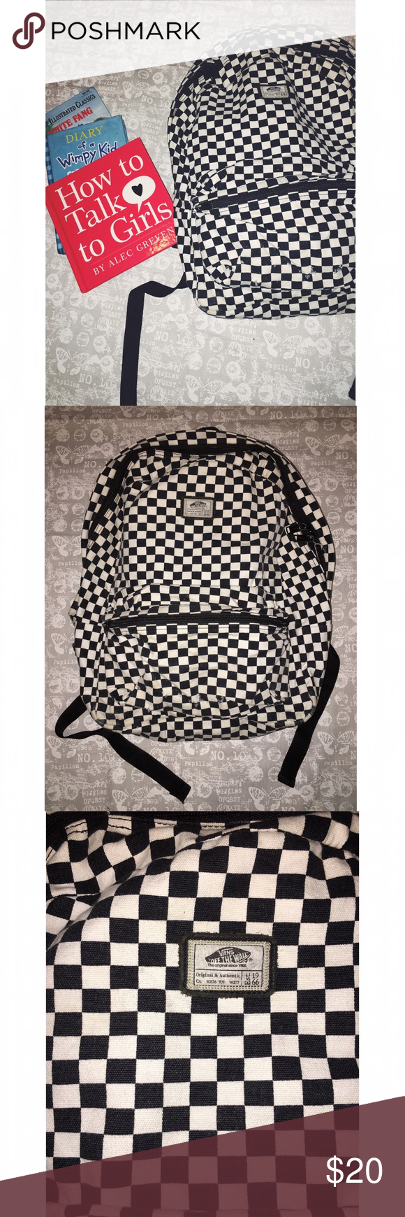 Vans Off the Wall Checked Backpack Preloved, black & white checked checked backpack. Scuffs on the outer pocket & signs of use on the inside. Zippers work fine, typical use more pics upon request. No trades. Vans Bags Backpacks