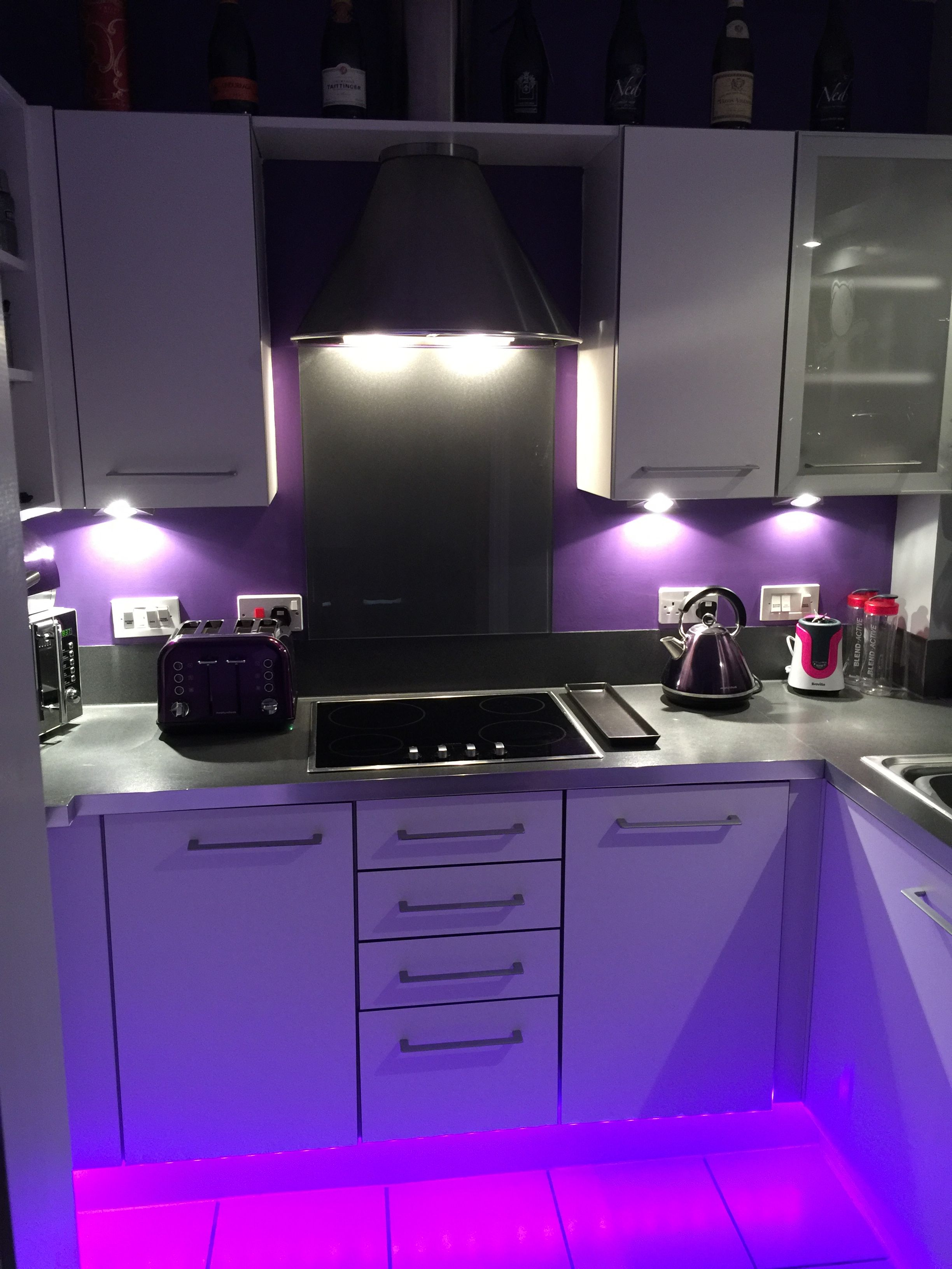 Freshly Decorated Purple Kitchen With Led Strip Lights Led Strip Lights Kitchen Purple Kitchen Led Lighting Home