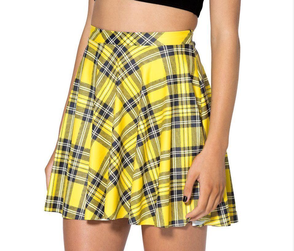 b76a6b936c761 Plaid Yellow Black Cute Hot School Girl Clueless Cher 90s Mini Skirt s M L  XL