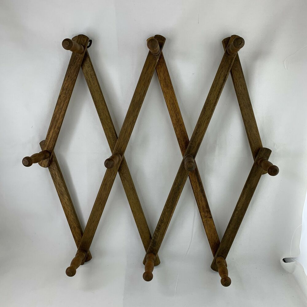 Details About Vintage Wood Expandable Folding 10 Peg Wall Hanger Mug Coat Hat Accordion Rack In 2020 Peg Wall Wall Hanger Vintage Wood