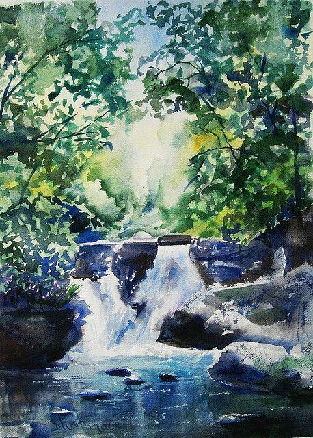 Cool Waters Wasserfall Malerei Aquarelle Landschaften Und Malerei