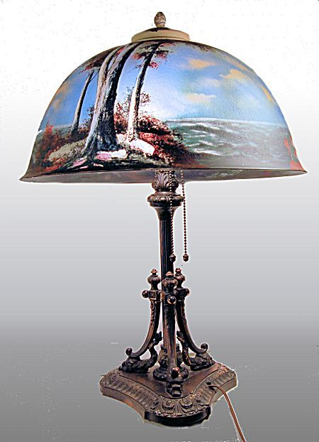 Finest Quality Pittsburgh Reverse Painted Lamp W Dolphin Base Click On The Image For More Information Antique Lamps Vintage Lamps Tiffany Style Lamp