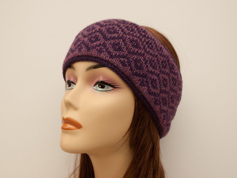 Fair Isle Knitted Winter Headband, Wool and Angora, Diamond Pattern ...