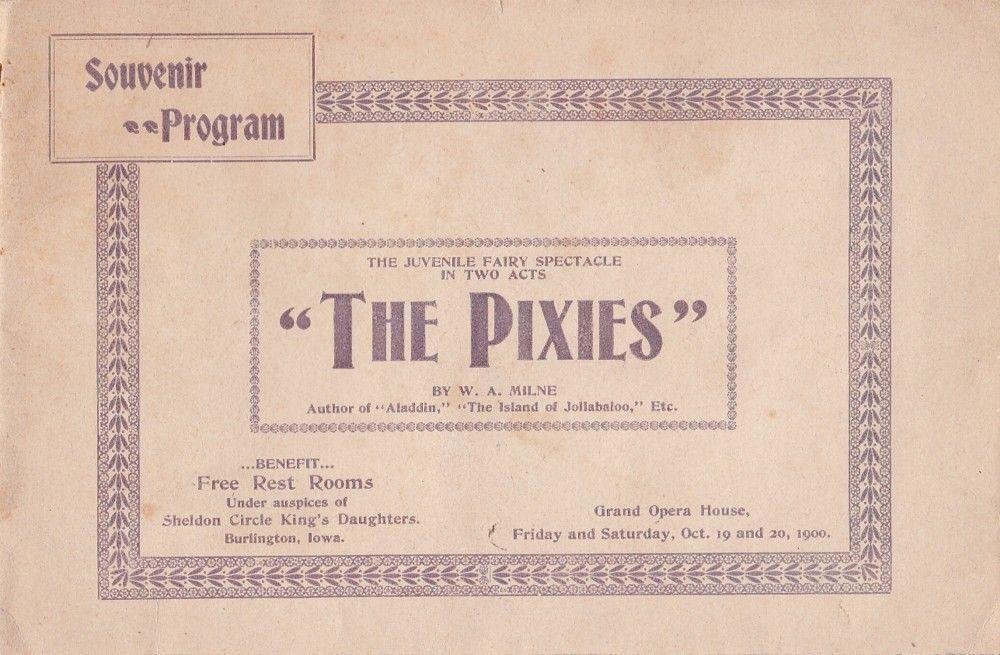 The Pixies 1900 Souvenir Theater Program Grand Opera House