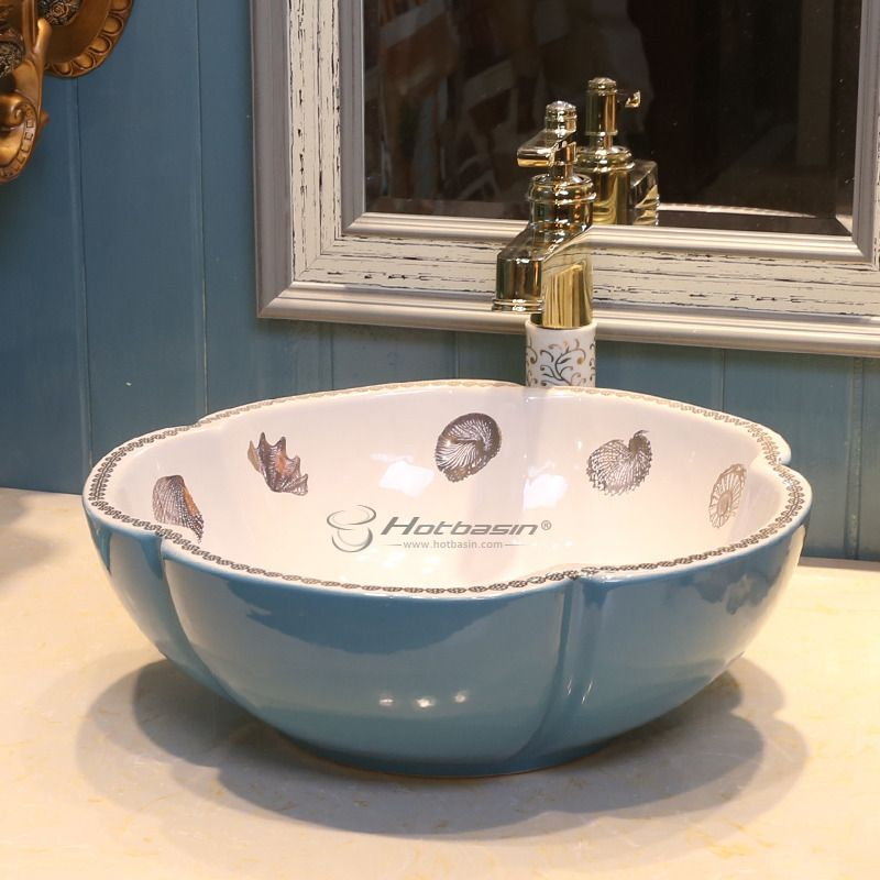 American Style Petal White And Blue Ceramic Vessel Sink For Bathroom Ceramic Vessel Blue Ceramics Vessel Sink