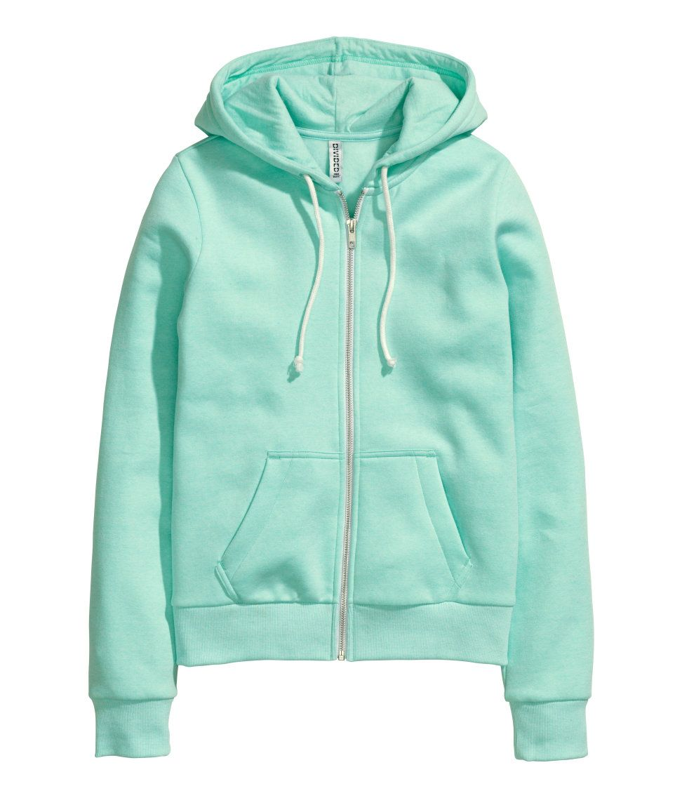 Mint green zip-up hoodie in soft sweatshirt fabric, with front pockets    brushed inside.   H M Pastels afc0be048876