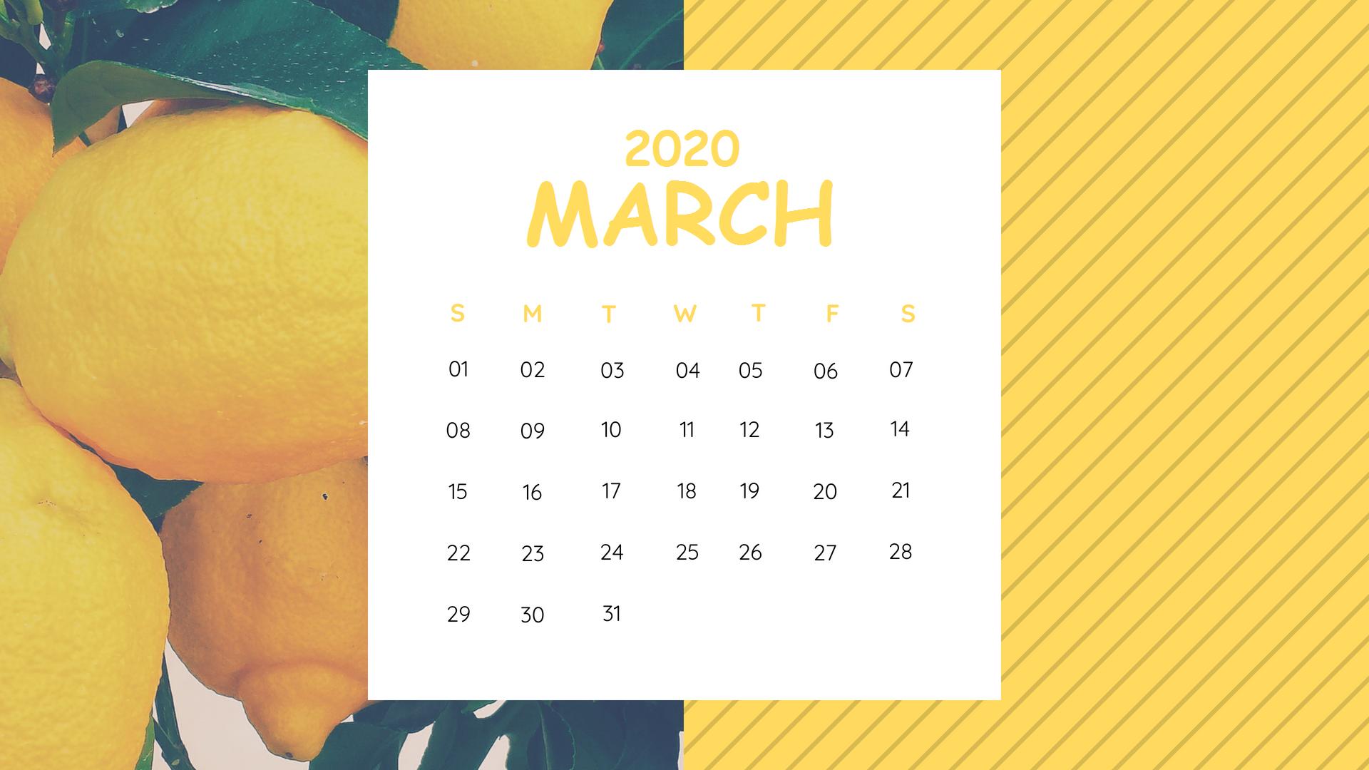 Cute March 2020 Calendar Wallpaper for Desktop and iPhone