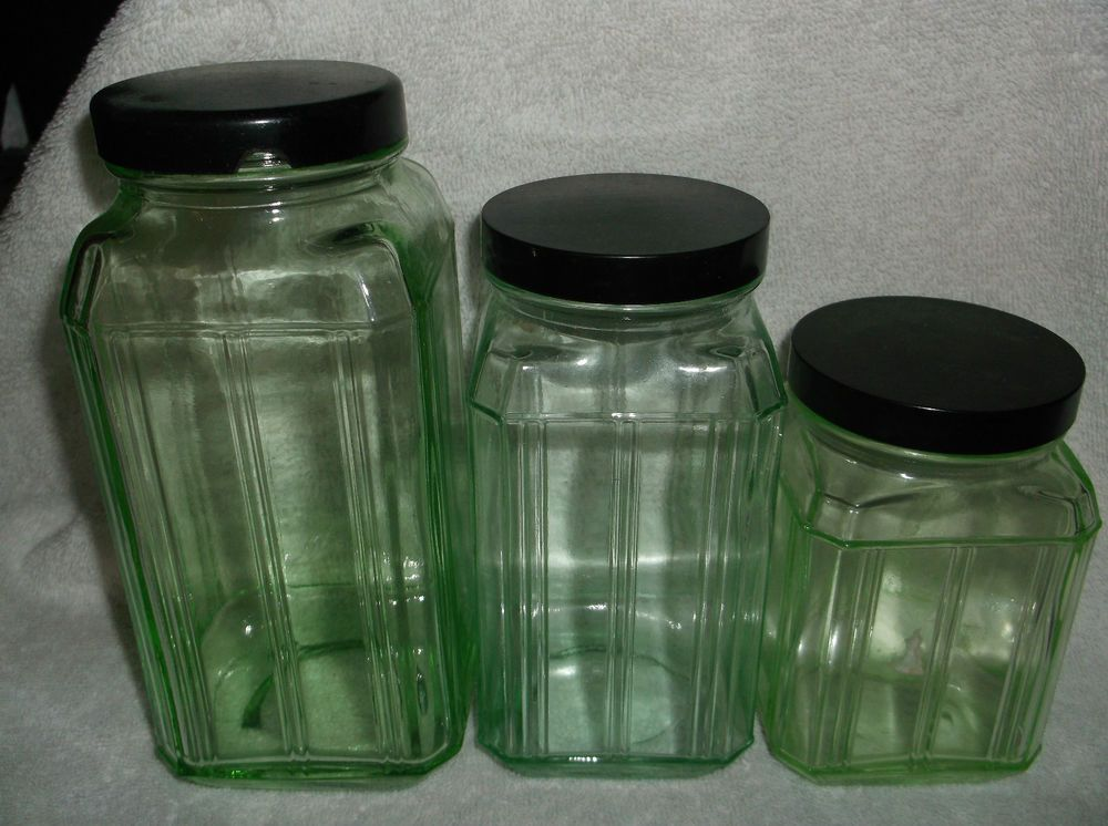 vintage glass canisters kitchen 3 heavy green depression glass kitchen canisters 22581