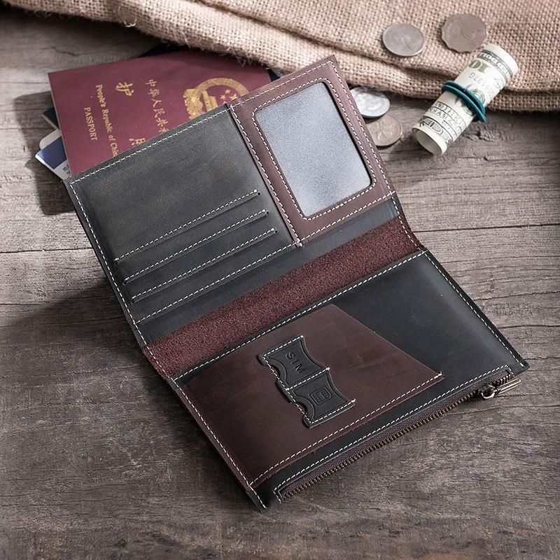 a35177824aa74 Handmade Leather Mens Travel Wallet Passport Leather Wallet Short Long –  iwalletsmen