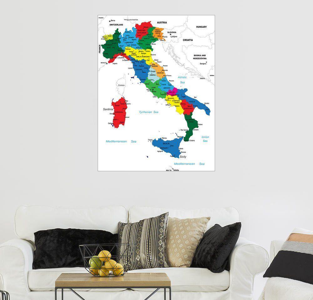 Wandbild Italien Politische Karte Bilder Dekoration