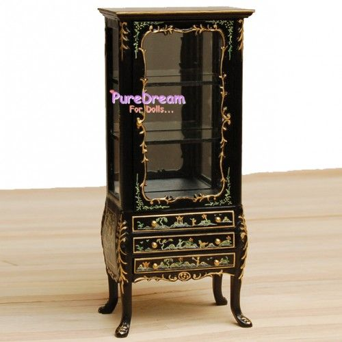 Old Fashioned Furniture For Sale: 1:12 Display Cabinet Handmade Gold And Black Brand-New Old
