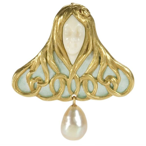 Preowned René Foy Art Nouveau Plique-à-jour Coral Freshwater Pearl... (€17.035) ❤ liked on Polyvore featuring jewelry, brooches, pins, bijoux, red, pin jewelry, gold coral jewelry, red coral jewelry, freshwater pearl jewelry and 18k gold jewelry